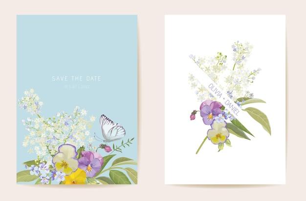 Aquarell violette stiefmütterchen-blumenhochzeitskarte. vektor lila frühlingsblumen einladung. boho-vorlagenrahmen. botanische save the date laubabdeckung, modernes design poster