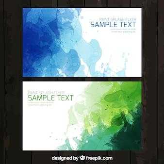 Aquarell visitenkarte in grünen und blauen farben