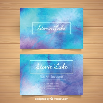 Aquarell-visitenkarte mit elegantem stil