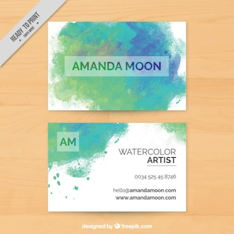 Aquarell-visitenkarte mit farbflecken