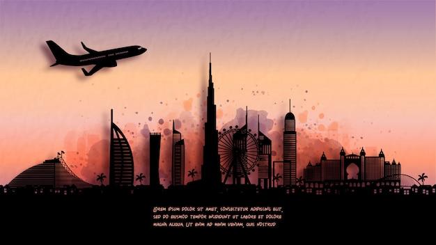 Aquarell von dubai silhouette skyline und berühmtes wahrzeichen. illustration.