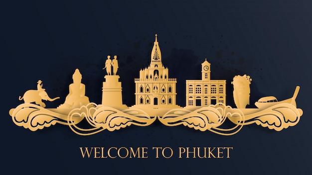 Aquarell von phuket, thailand silhouette skyline und berühmtes wahrzeichen ..