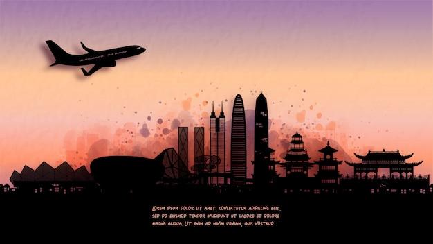 Aquarell von shenzhen, china-silhouette-skyline und berühmtes wahrzeichen. .