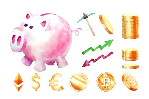 Aquarell von sparschwein, finanzen, sammlung.
