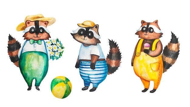 Aquarell waschbär abbildung. für kinderpostkarten und kleidung.