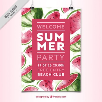 Aquarell wassermelone sommer-party-plakat