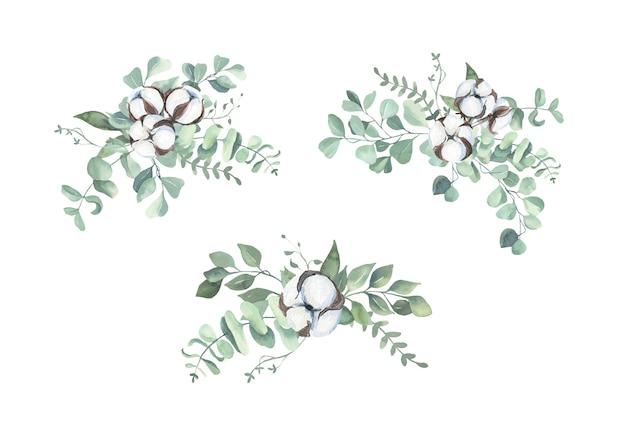 Aquarell wattebäusche und eukalyptusstrauß