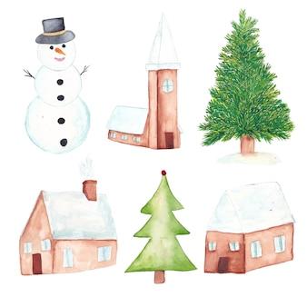 Aquarell weihnachten elemente festgelegt