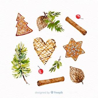 Aquarell weihnachten elementsammlung