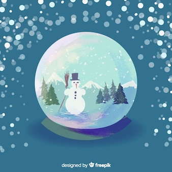 Aquarell weihnachten globus schneeball