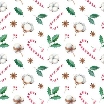 Aquarell weihnachten nahtloses muster mit roten beeren, baumwollblumen, zuckerstangenhaken, anis, baumwollblumen, zweigen, roten beeren