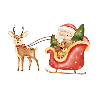Aquarell weihnachten santa schlitten digitaldruck