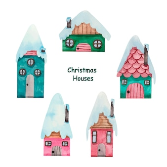 Aquarell weihnachten winterhäuser