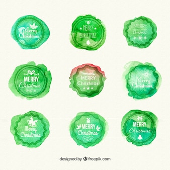 Aquarell-weihnachts badges