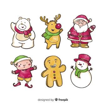 Aquarell weihnachts zeichen sammlung