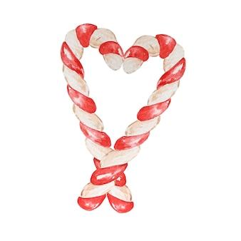 Aquarell-weihnachts-zuckerstange. handbemalte zwei bonbons.
