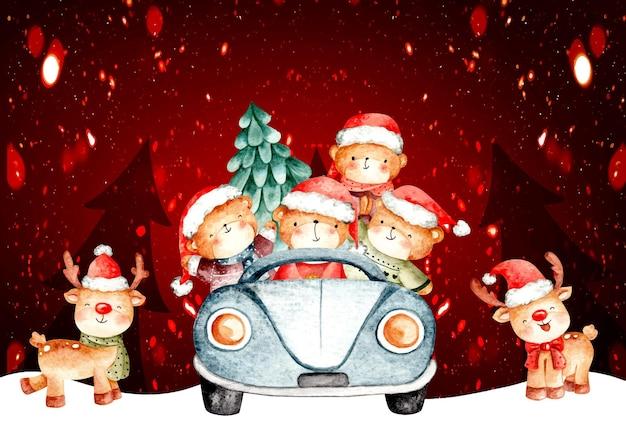 Aquarell weihnachtsbär, der ein auto fährt
