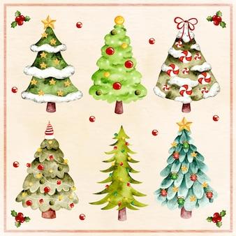 Aquarell weihnachtsbaum mit ornamenten