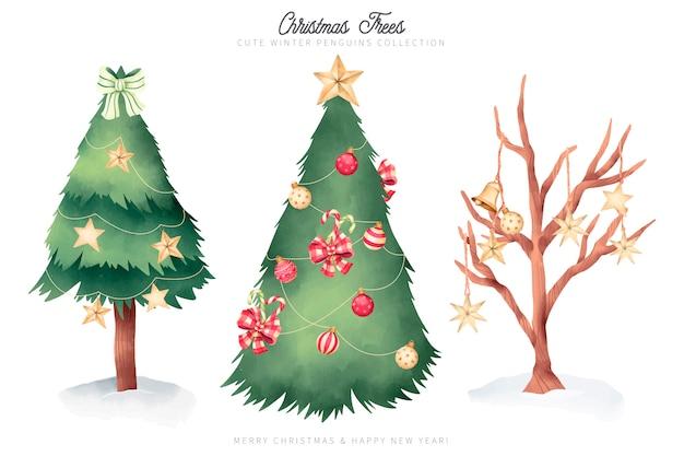 Aquarell-weihnachtsbaum-sammlung