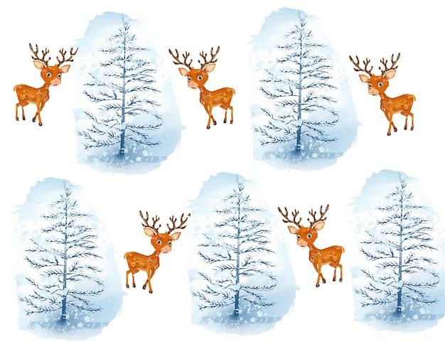 Aquarell weihnachtsbaum und hirsch hintergrund mit schneeflocken
