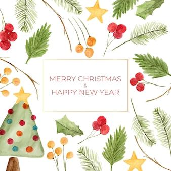 Aquarell weihnachtsbaum und ornamente als rahmenhintergrund