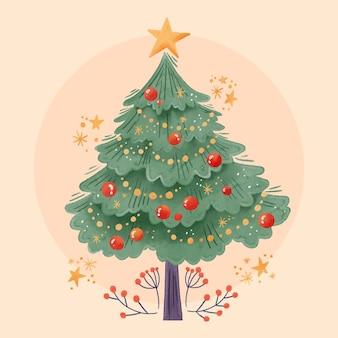 Aquarell-weihnachtsbaumkonzept