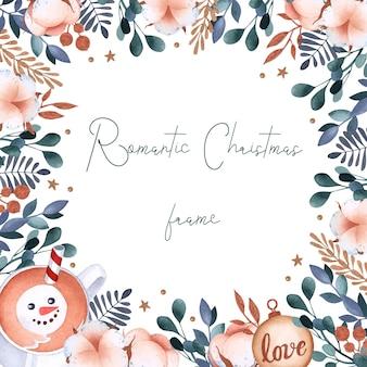 Aquarell weihnachtsbaumwollrahmen mit kakao und dekorationshintergrund
