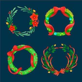 Aquarell weihnachtsblume & kranz-pack