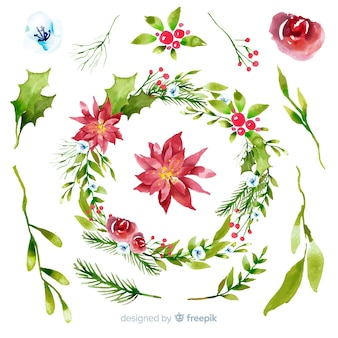 Aquarell weihnachtsblume & kranz sammlung