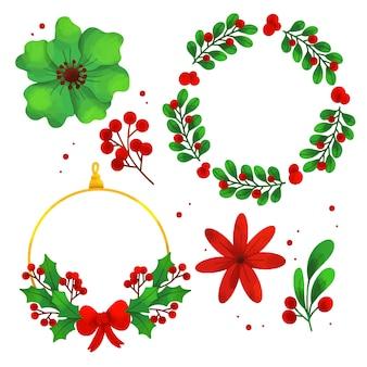 Aquarell weihnachtsblume & kranz set