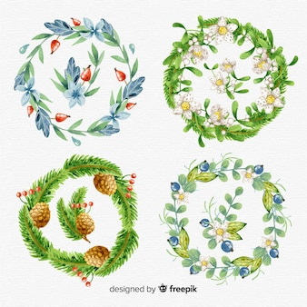 Aquarell weihnachtsblume und kranz sammlung