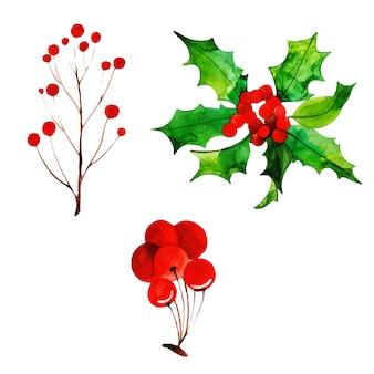 Aquarell-weihnachtselement-sammlung