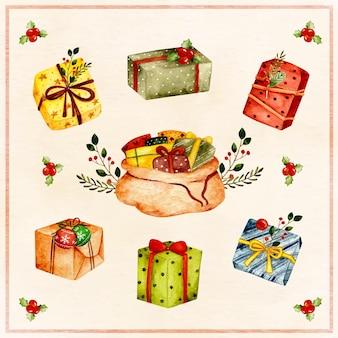 Aquarell weihnachtsgeschenk mit ornamenten