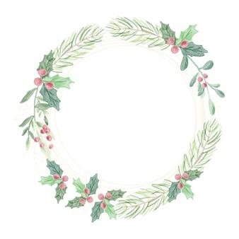 Aquarell weihnachtsgrünblätter mit goldenem glitzerkranz