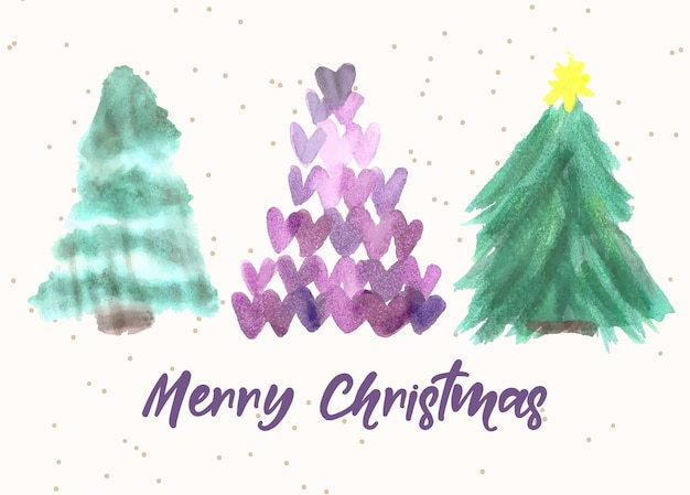 Aquarell-weihnachtsherz-baum-set