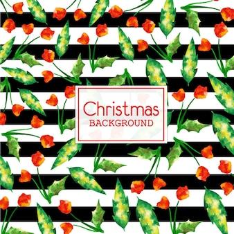 Aquarell-weihnachtshintergrund mit schwarzen streifen