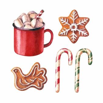 Aquarell weihnachtsillustration mit heißen schokoladenlebkuchen und zuckerstangen feiertagscliparts