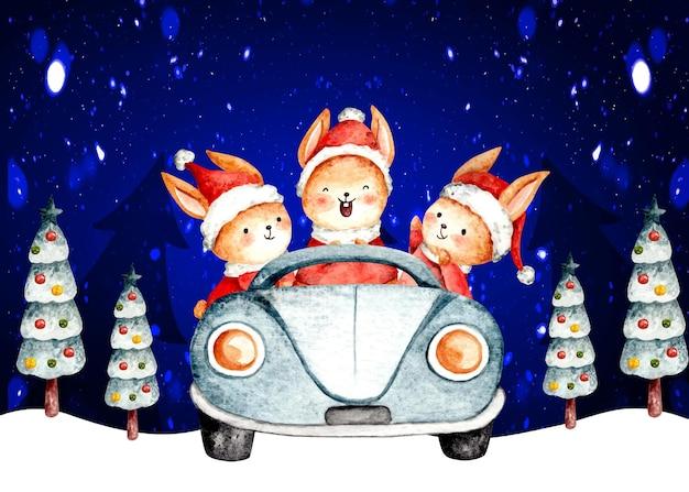 Aquarell weihnachtskaninchen autofahren