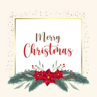 Aquarell-weihnachtskarte mit blumen und blättern