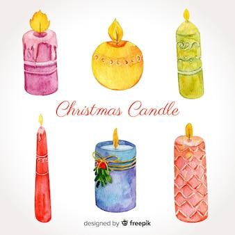 Aquarell weihnachtskerzensammlung