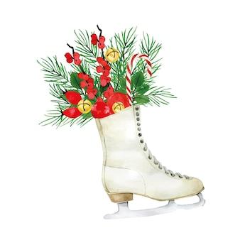 Aquarell weihnachtskomposition mit weihnachtspflanzen vintage schlittschuhe poinzeta rote beeren
