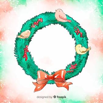 Aquarell weihnachtskranz hintergrund