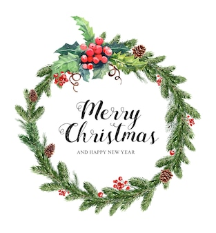 Aquarell weihnachtskranz kiefer und beeren weihnachten.