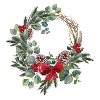Aquarell weihnachtskranz konzept