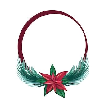 Aquarell weihnachtskranz mit blättern und blumen weihnachtsstern blumen