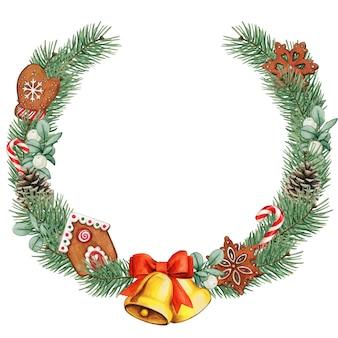 Aquarell-weihnachtskranz mit goldenen glocken und lebkuchenplätzchen