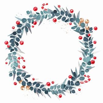 Aquarell-weihnachtskranz mit leerem raum