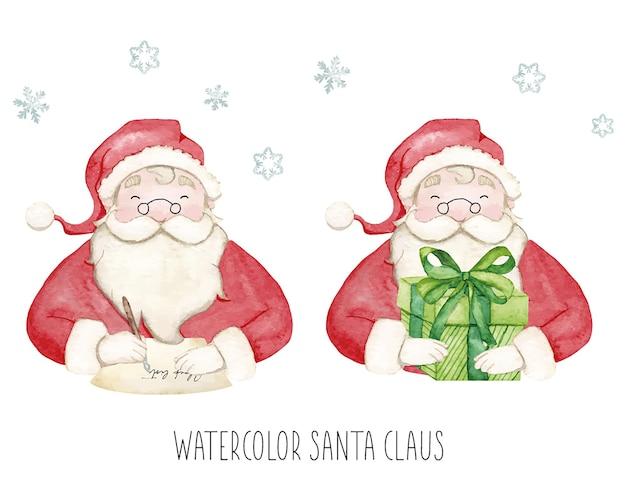 Aquarell-weihnachtsmann mit geschenk und brief