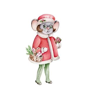 Aquarell weihnachtsmaus.vintage stil.retro illustration.maus mit geschenken.santa klausel kostüm.cartoon charakter