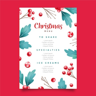 Aquarell weihnachtsmenüvorlage
